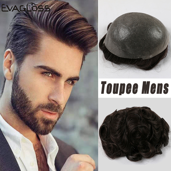EVAGLOSS Man Wig 0.06mm Skin PU Hair System For Men Hair Prosthesis Replacement System Human Hair Men's Wig Free Shipping