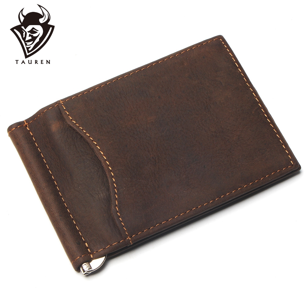 Full Grain Crazy Horse Leather Money Clip Front Pocket Slim Minimalist Card
