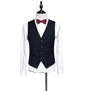2019 New Dress Vests For Men Slim Fit Mens Suit Vest Male Waistcoat Gilet Homme Casual Sleeveless Formal Business Jacket