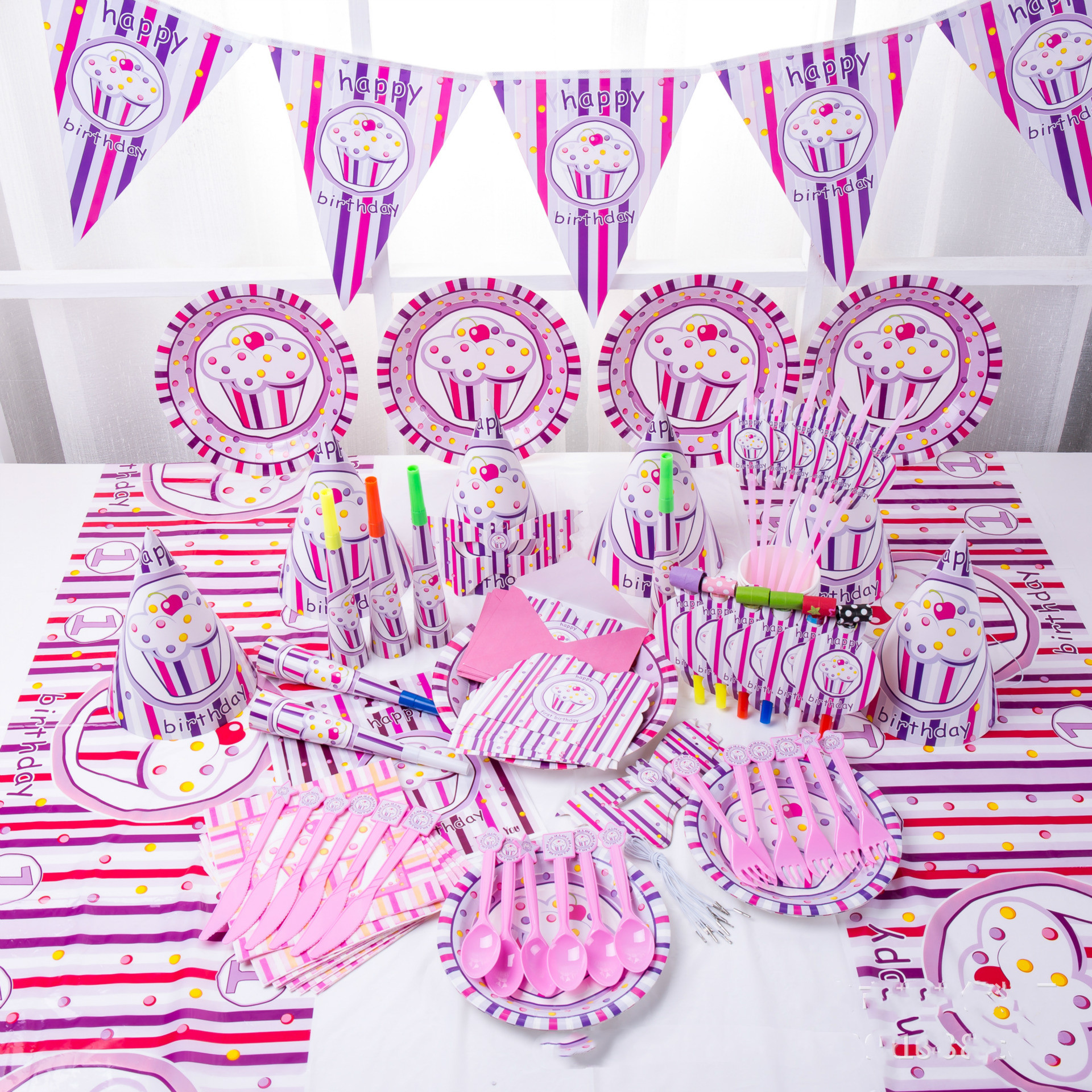 Baby Party Supplies Set 6 People Pink Ice Cream Theme Birthday Party Supplies Set Baby Gift Child Kids Girls Party Supplies Set
