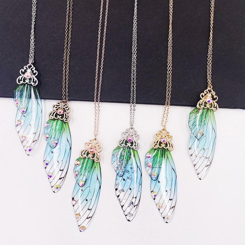 Fada doce verde gradiente resina borboleta colares para feminino ouro rodegold strass inseto asa gargantilhas colar presente