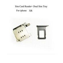 Podwójny czytnik kart Sim złącze Flex Cable + uchwyt gniazda karty Sim dla iPhone XR