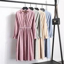 Korean Solid Color Corduroy Dress Winter Autumn Preppy Style Bowtie Buttons Pink Robe Femme Sweet Midi Long Sleeve Kawaii