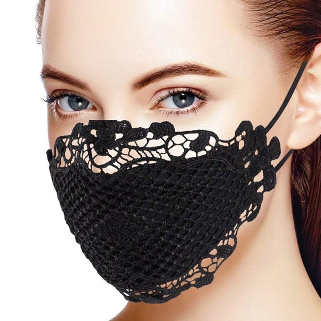 1 шт. маска для лица Модная тонкая Кружевная аппликация моющаяся многоразовая маска для лица