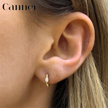 Simple Luxury Circle Zircon Earring 925 Sterling Silver Crystal CZ Hoop Earrings for Women Gold Silver Fashion Jewelry Wholesale real 100% 925 sterling silver rainbow moon star hoop earrings for women crystal zircon chain earring gold silver ear jewelry a30