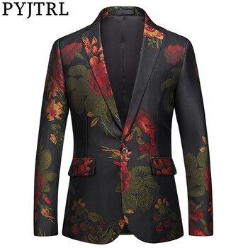 PYJTRL Men Blazer Fashion Jacquard Floral Slim Fit Casual Suit Jacket Veste Homme Costume Gentlemen Luxurious Dress Blazers