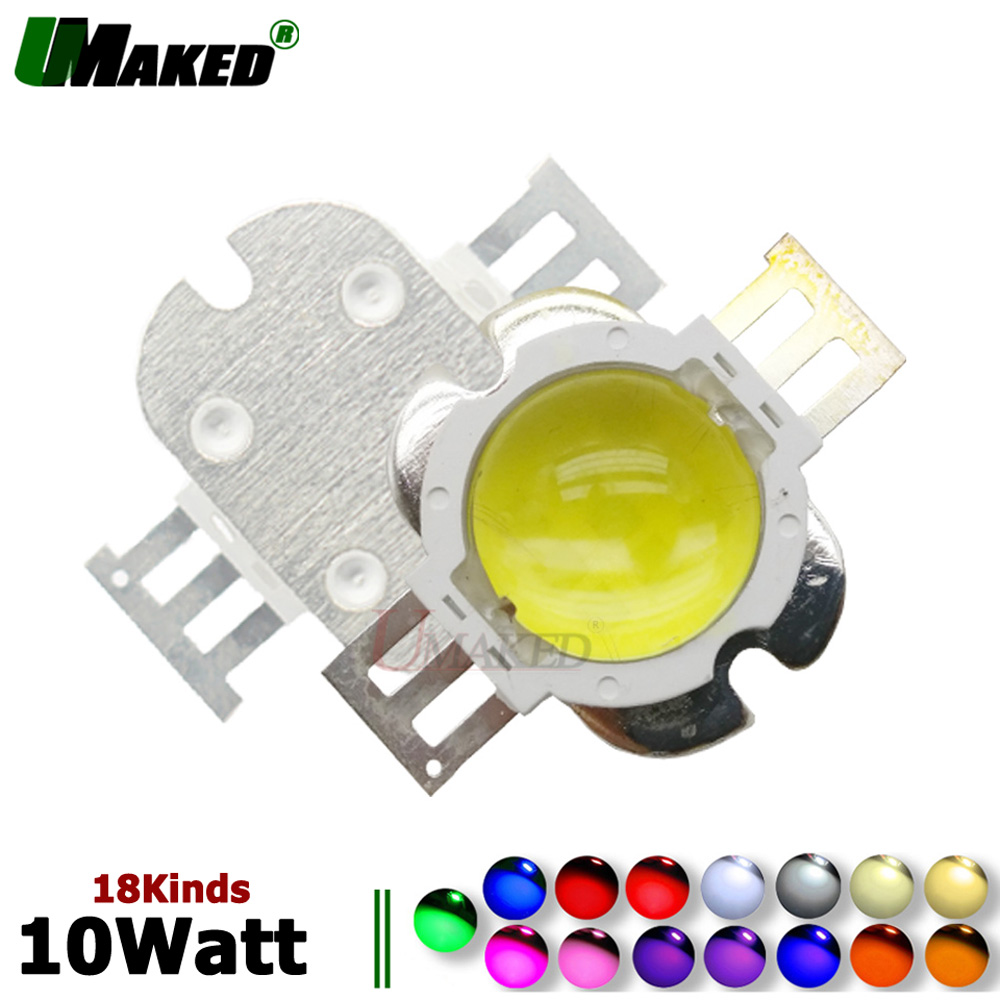 High Power LED Chips 10W Round 60 Angle Lens COB SMD Diode Epistar 45mil Spot Light Chips WW/W/R/B/G/Y/440 For Led Floodlights