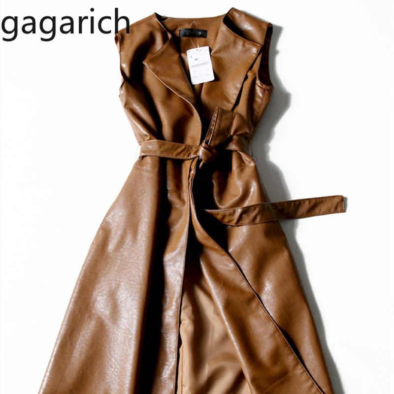 Gagarich ผู้หญิง Trench ของแข็งแฟชั่น V คอเข็มขัด Slim 2019 ฤดูใบไม้ร่วงฤดูหนาวใหม่ PU หนัง Trench Coat