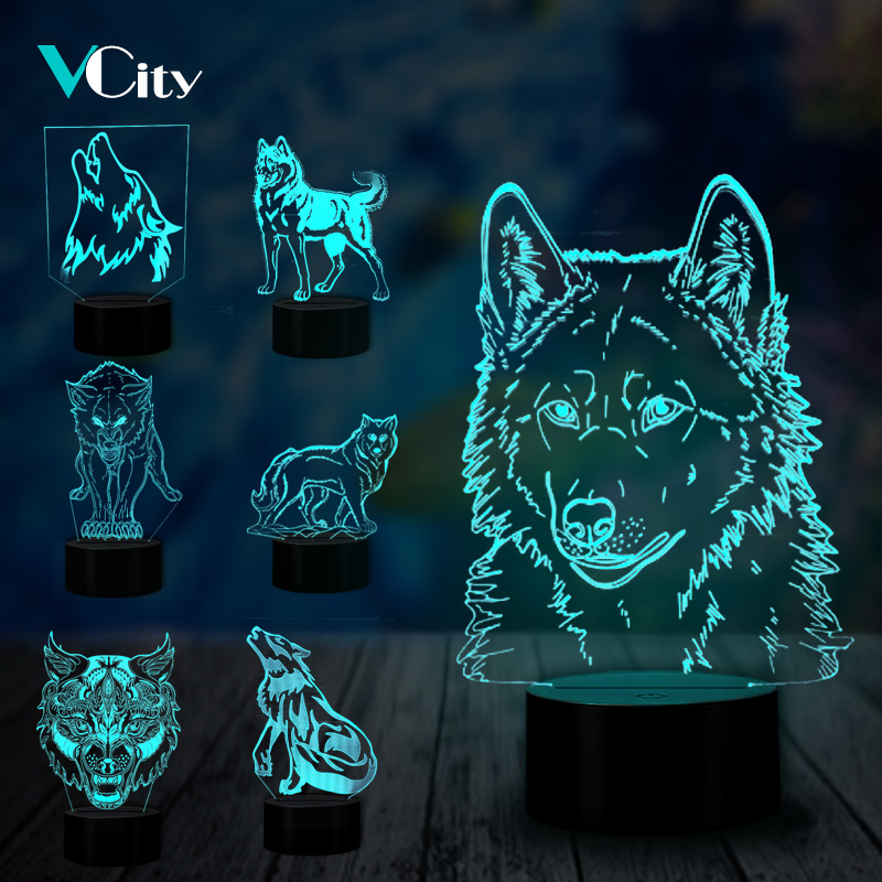 VCity Wolf Series 3D Visual Lamp Animal Nightlight Touch Sensor Child Kids Baby Gifts Abstract Acrylic Lamparas USB LED Illusion