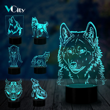 VCity Wolf Series 3D Visual Lamp Animal Nightlight Touch Sensor Child Kids Baby Gifts Abstract Acrylic