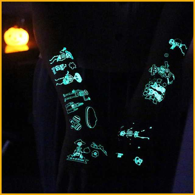 24pcs Luminous Skull Sticker Tattoo Decorative Glowing In Dark Waterproof Temporary Tatoo Body Art For Mexico Day Of The Dead A2 Party Diy Decorations Aliexpress