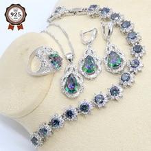 цена на Rainbow Zircon 925 Silver Jewelry Set for Women Bracelet Earring Necklace Pendant Ring Gift Box