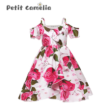 цена на Children Strap Princess Dress Girl Off-The-Shoulder Chiffon Print Dress Skirt Wedding Party Elegant Flower Baby Girls Dress