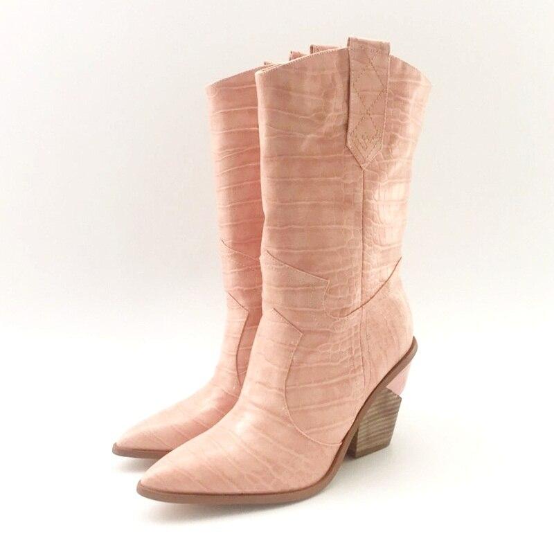브랜드 양각 마이크로 화이버 가죽 하이힐 여성용 발목 부츠 지적 발가락 카우보이 부츠 여성 mid calf wedges boots runway-에서앵클 부츠부터 신발 의  그룹 1