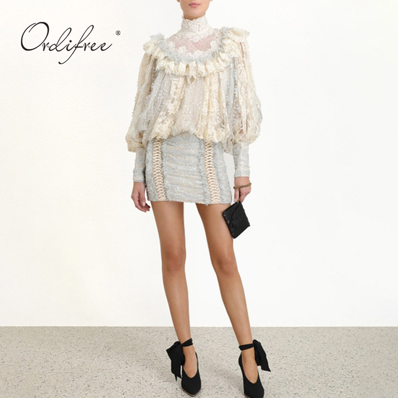 Ordifree 2020 Sommer Luxus Frauen Mini Party Kleid Langarm Polka Dot Mesh Weiß Spitze Vintage Kurzen Kleid - 3