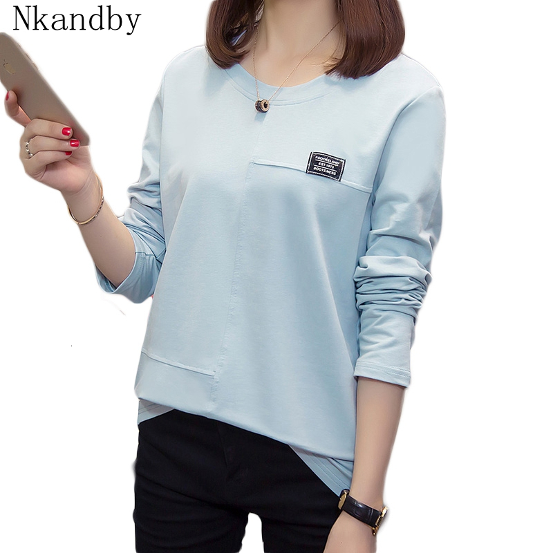 Nkandby Plus Size Women Tshirt 2019 Fall Clothes Casual Loose Long Sleeve T Shirts Oversized Korean Style Cotton Ladies Top Tees