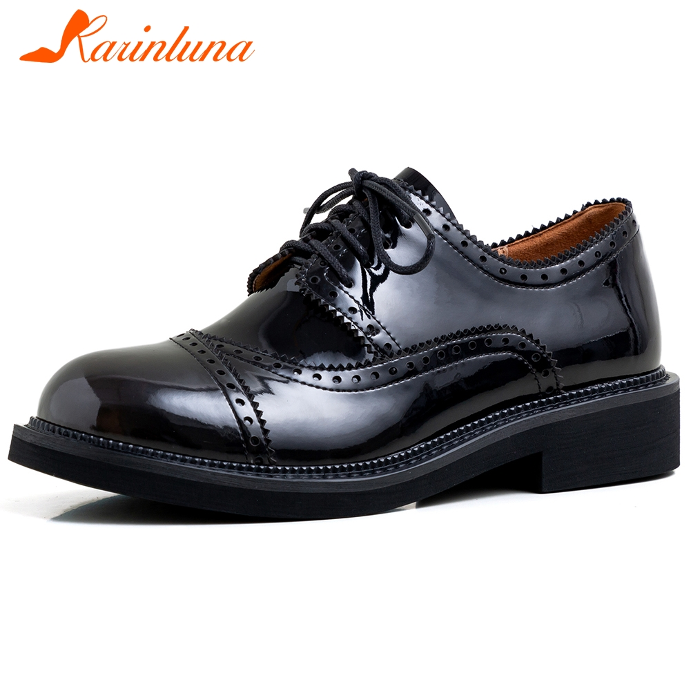 Karinluna 2020 Fashion New Genuine Leather Comfortable Shoes Woman Flats Female Lace-Up Solid Leisure Flats Women Shoes Footwear