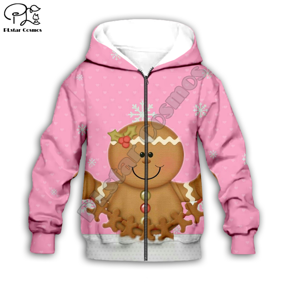 Kids Merry Christmas cookie 3D print cartoon hoodies Santa Claus kawaii long sleeve Sweatshirt zipper boy girl cloth tshirt Pant in Matching Family Outfits from Mother Kids