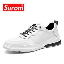 SUROM ماركة مصمم حذاء رجالي كاجوال الصيف تنفس موضة أحذية رياضية بيضاء الرجال أحذية من الجلد المتسكعون الذكور تنيس krasovki