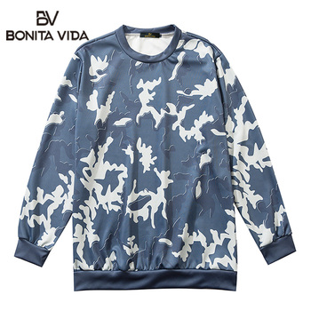 Bonita Vida Camouflage Printed Oversized Streetwear Hip Hop Hoodie Sweatshirt Men Autumn Casual Pullover Vintage Fashion Tops