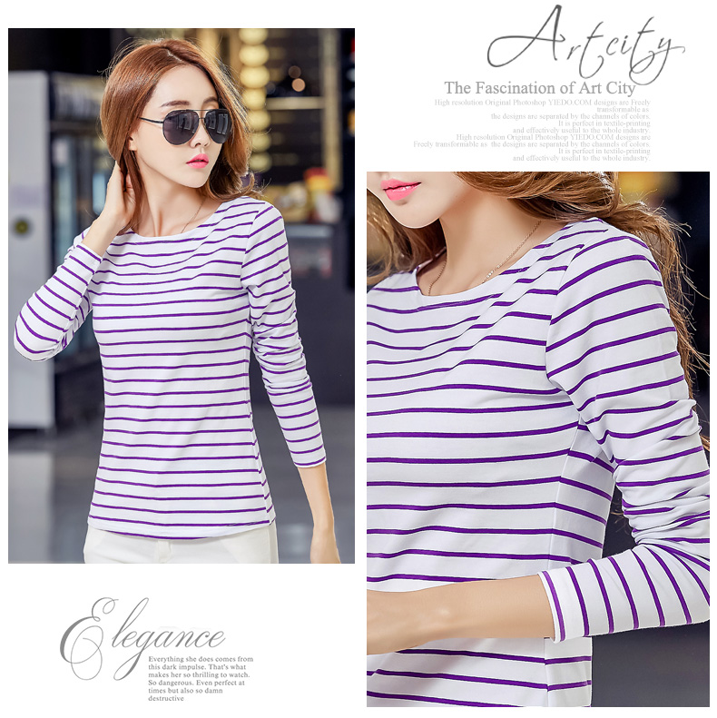 Hc8050f4d2ad247e78fe657abcaadbd49J - Soperwillton Cotton T-shirt Women New Autumn Long Sleeve O-Neck Striped Female T-Shirt White Casual Basic Classic Tops #620