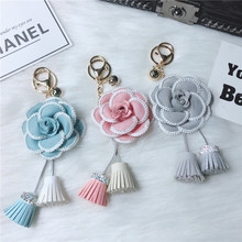Beautiful Camellia Flower Keyring Black White Leather Keychain Women Fashion Girl Key Chains