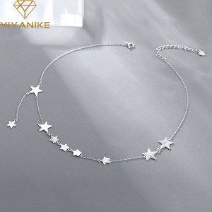 XIYANIKE 925 Sterling Silver Charm Chain Necklace for Women Trendy Simple Stars Pendant Tassel Clavicle Chain Party Jewelry Gift