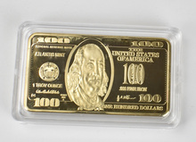 Gold Plated Dollars Commemorative USD 100 Dollar Metal Coin Golden Bars bullion Antique Collection