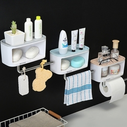 QD Soap Rack No Drilling Wall Mounted Double Layer Soap Holder Soap Sponge Dish Bathroom Accessories Soap Dishes Self Adhesive