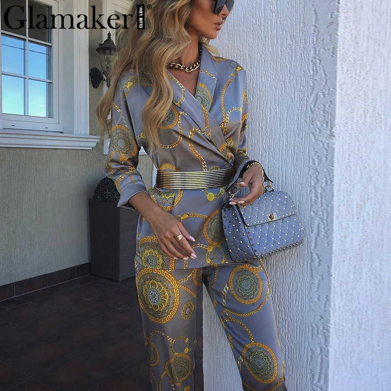 Glamaker Floral print v neck jumpsuit romper Women satin belt long sleeve elegant jumpsuit Female two piece party sexy jumpsuit