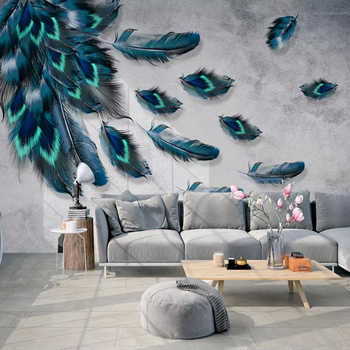 Custom Mural Wallpaper 3D Fashion Colorful Hand Painted Feather Texture Wallpaper For Walls Roll Bedroom Living Room Home Decor