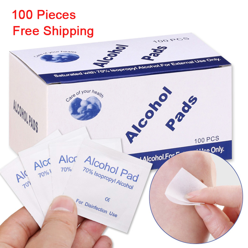 100Pcs/Box Portable Disposable Alcohol Cotton Tablet Cleaning Sterilization Disinfection Wipes First Aid Home Skin Alcohol Swabs