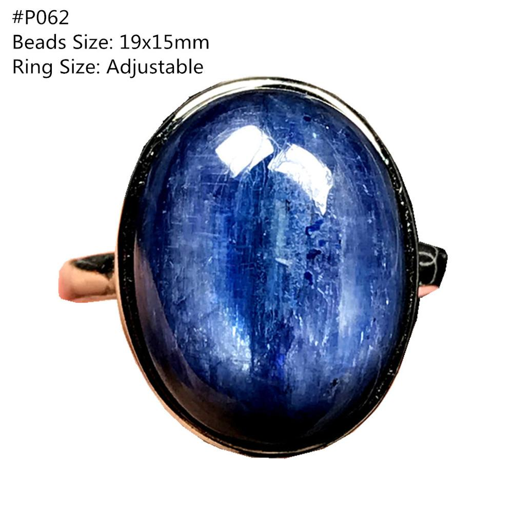 Genuine Natural Blue Kyanite Ring Jewelry For Woman Lady Man Crystal Oval Beads Cat Eye Silver Gemstone Adjustable Ring AAAA