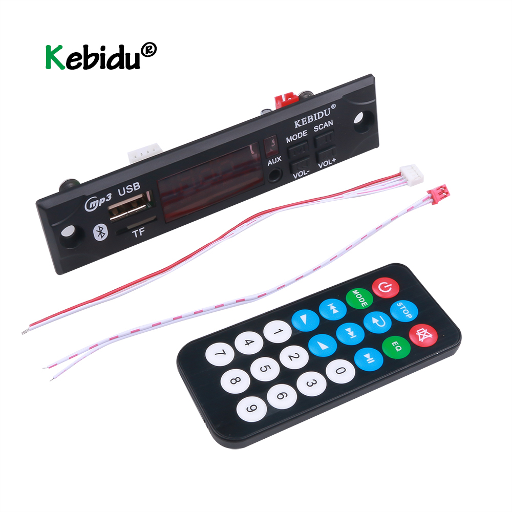 Автомобильный аудио Kebidu 5 в 12 В MP3 WMA декодер плата USB TF FM радио модуль беспроводной Bluetooth MP3-плеер с дистанционным управлением для автомобиля