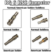 50 Pieces/lot RG 6 BNC Connector 75-5 Male Connector Solder/Solderless CCTV Camera Security Coaxial Cable Amerian/Normal Type