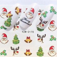Новинка, зимние рождественские слайдеры, наклейки для ногтей, наклейки для ногтей, сделай сам, аксессуары для маникюра, Водные Переводные фольга, Рождественский подарок
