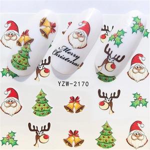 Новинка Зима 2020, рождественские Слайдеры для ногтей, наклейки для дизайна ногтей, сделай сам, маникюрные Водные Аксессуары, переводная фоль...