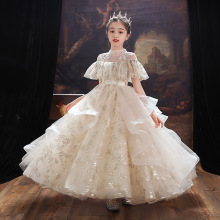 Evening princess dress first communion dress long girls flower wedding kids ball gown baby fluffy elegant costume robe 2021