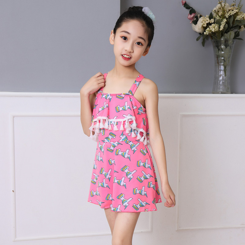 New Style Korean-style GIRL'S Swimsuit Cute Dress Middle And Large Children Fashion Swimwear Hot Springs Graceful Tour Bathing S