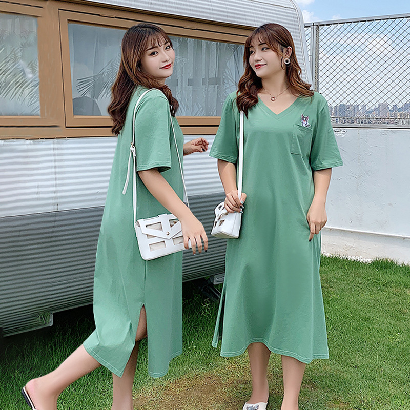 Large Size Dress 200 Of Fat Mm Dress Loose-Fit Slimming Belly Covering Matcha Green Hipster Skirt 2108