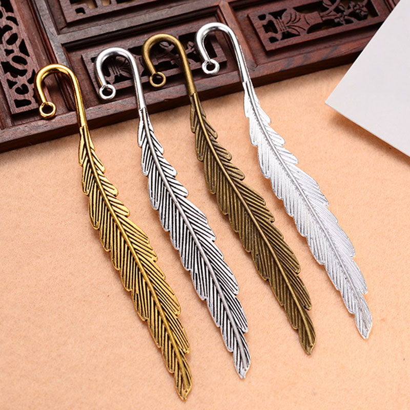 10 Pcs Vintage Metal Feather Bookmarks Alloy Feather Shape Book Markers VDX99