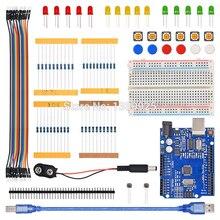 스타터 키트 r3 보드 미니 브레드 보드 led 점퍼 와이어 버튼 arduino compatile 용