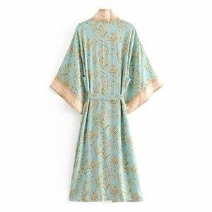 Image 2 - Đầm sang trọng nữ xanh in hoa tay cánh dơi Rayon bãi biển Bohemia Áo choàng kimono Nữ cổ V tất Boho Đầm vestidos