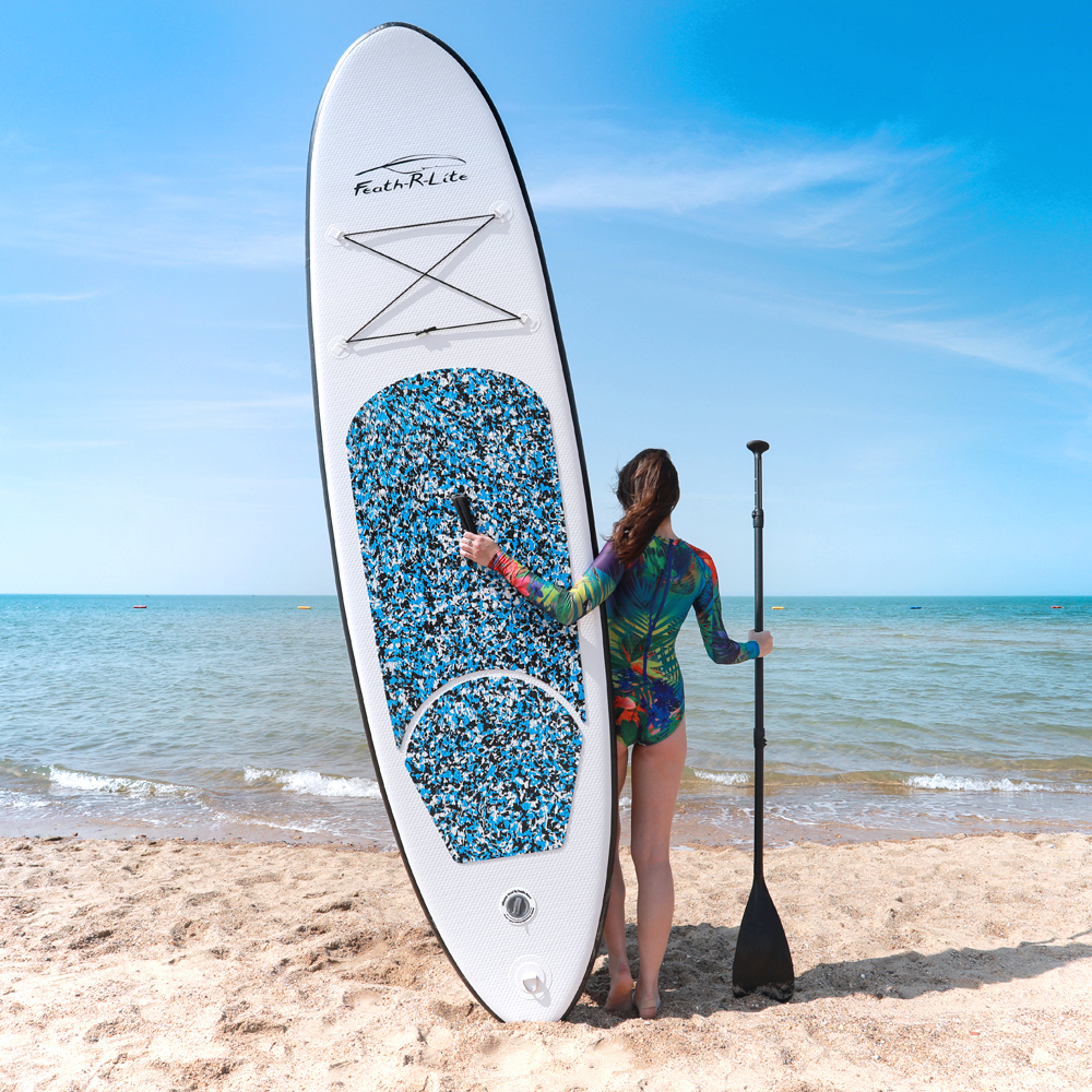 """Inflatable 10'×30""""×6"""" Ultra-Light SUP For All Skill Levels Included With Paddle Board Adj Pump ISUPBackpack Leash Waterproof Bag"""