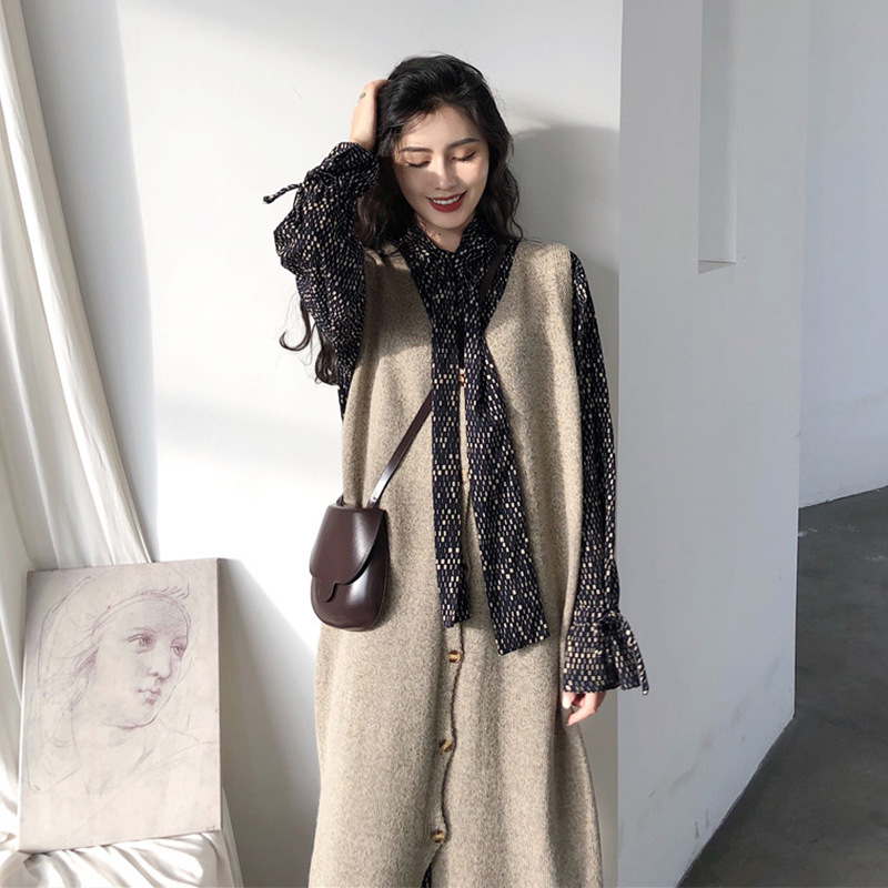 2019 New Style Korean-style Mid-length Waistcoat + Late Evening Breeze Chiffon Dress-Style Two-Piece Set Mirror WOMEN'S Dress