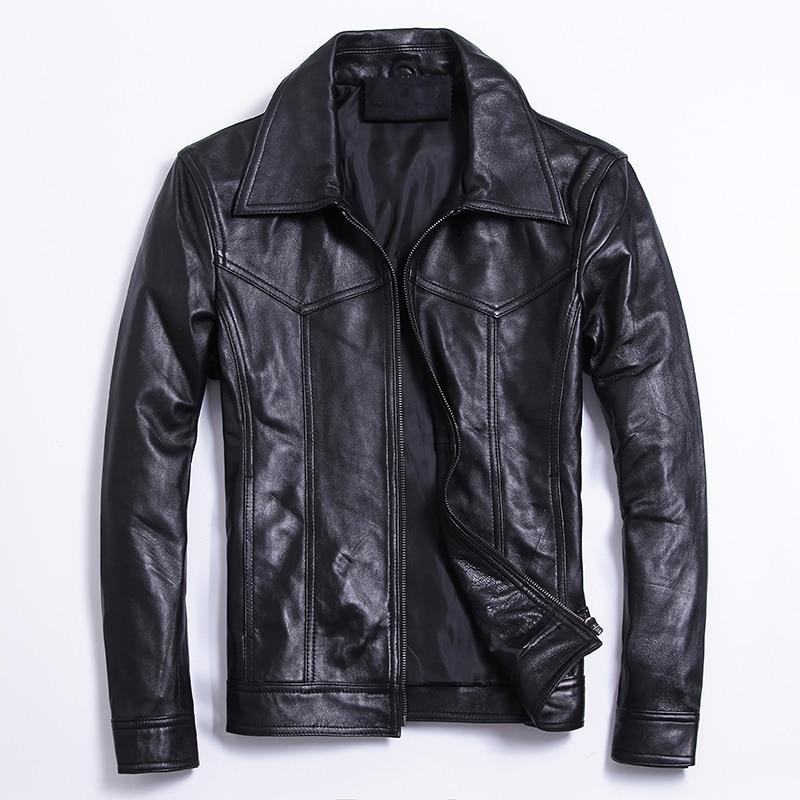 Casual Motorcycle Jackets Men Slim Black Genuine Leather Jacket Coats Large Size 5XL Luxury Real Sheepskin Riding Coat