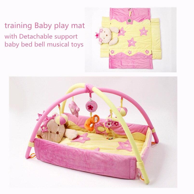 Doux bébé tapis de jeu jouets éducatifs bébé tapis de jeu enfants tapis pour enfants nouveau-né ramper tapis de Gym avec cadre pliable