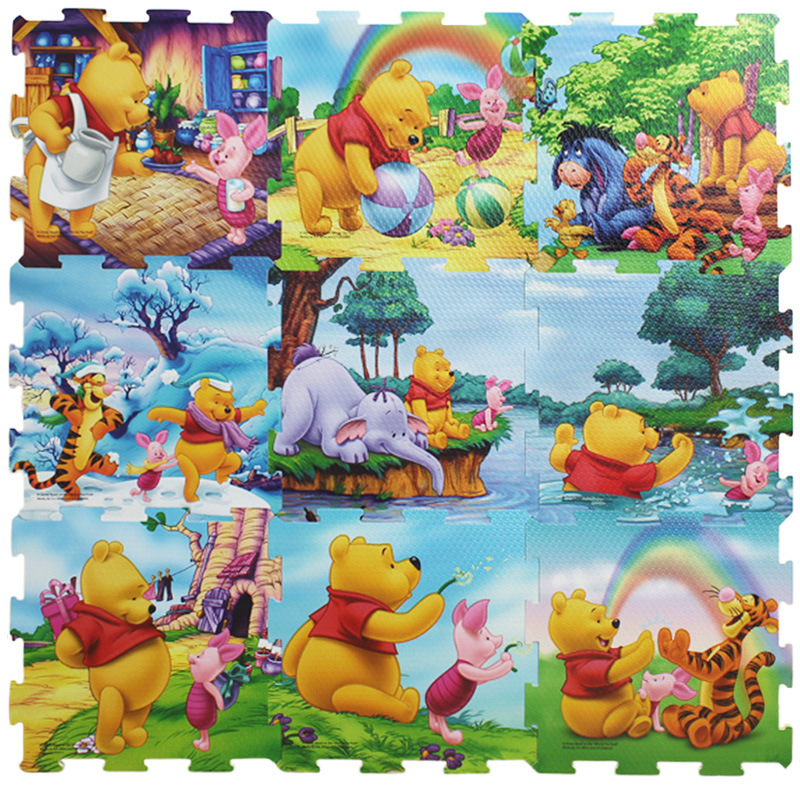 Disney 9pcs/pack Winnie the pooh foam mat Mickey Minnie 30x30cm per piece  Baby Child Play Floor Mat  Game carpet Crawling mat
