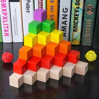 Creative Square Block Wood Color Square Building Blocks For Kindergarten Children Toy DIY Wood Decor Crafts Safe Grade 50Pcs/lot