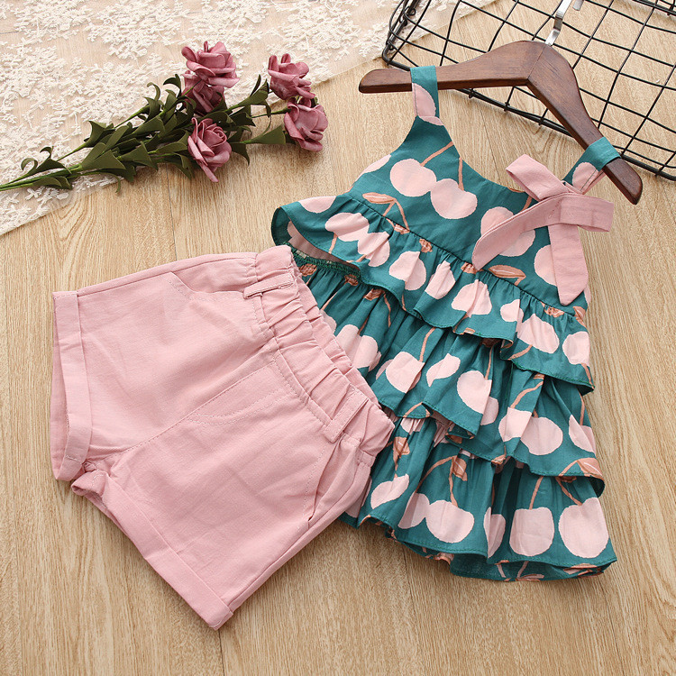 Kids Clothes Sets Summer Cute Girls Clothing Printed Cherry Cake Vest + Pink Shorts 2 Pcs Suit For3-7 Year Children 3